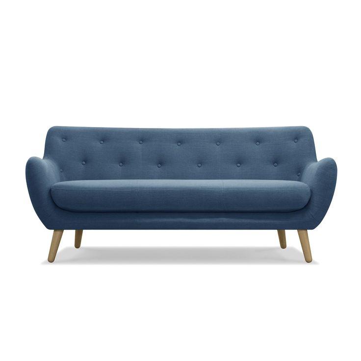 Canapé 3 places esprit seventies en tissu bleu pétrole - Poppy Meuble - Canapés en tissu-Canapés et banquettes-Salon et salle à manger-Par pièce - Décoration intérieur - Alinea