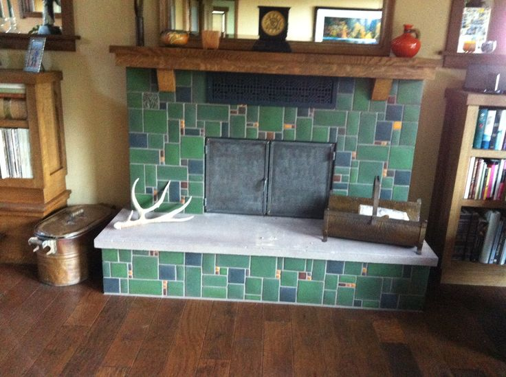 Motawi collage fireplace in Lee Green, Navy and Golden #motawi ...