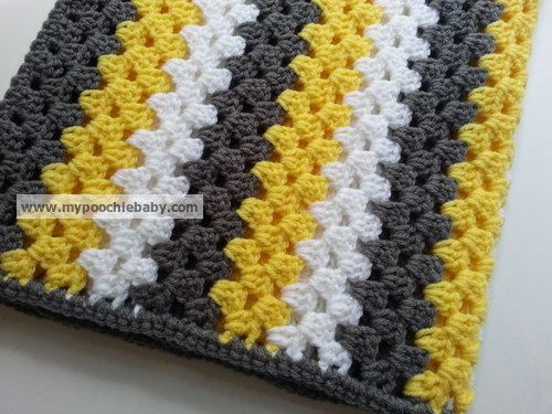 Large Striped Granny Afghan Crochet Baby Blanket In Gray