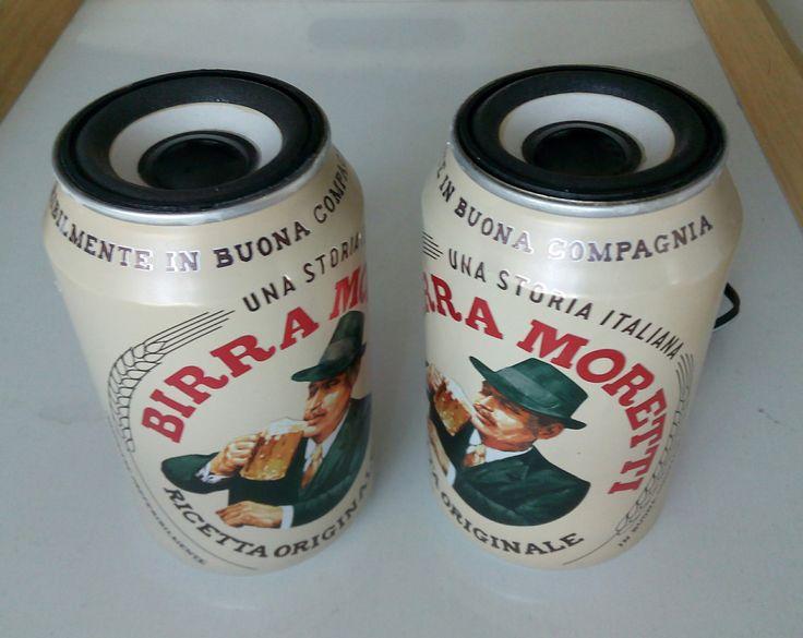 Casse acustiche in lattine di birra Moretti (coppia)