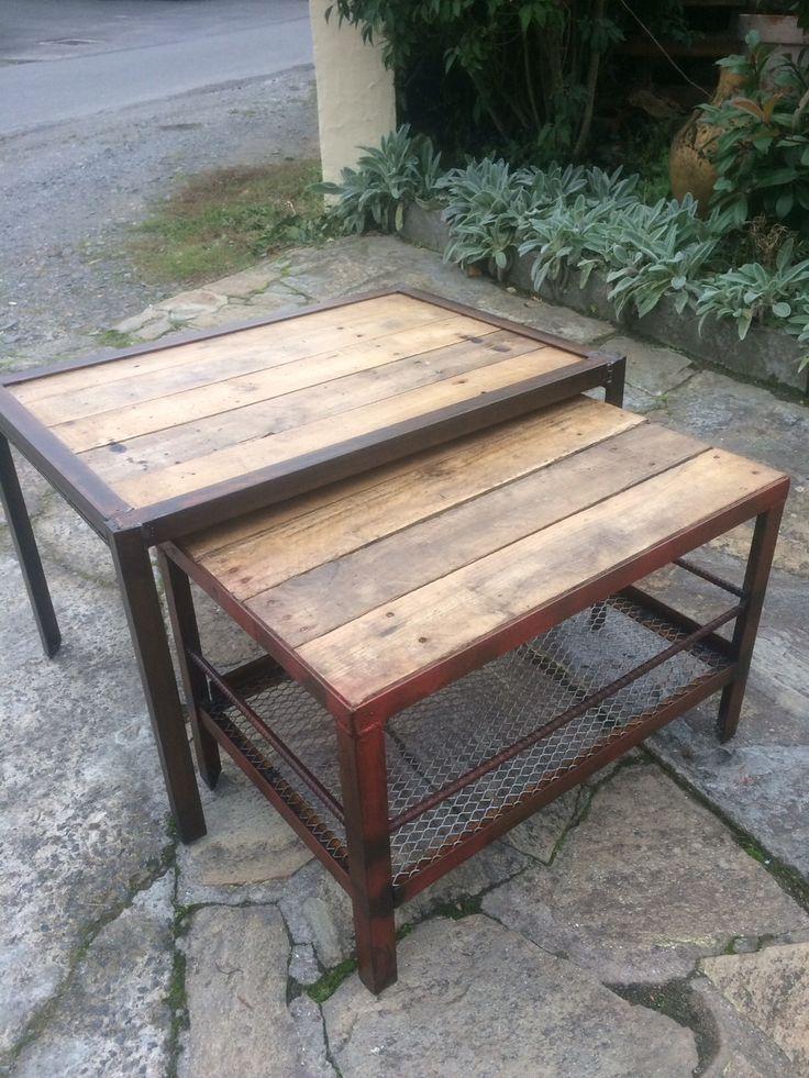 Table basse industriel en acier et bois : Meubles et rangements par 5thdeco