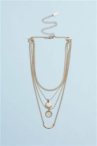 Золотистое многослойное ожерелье с монетками