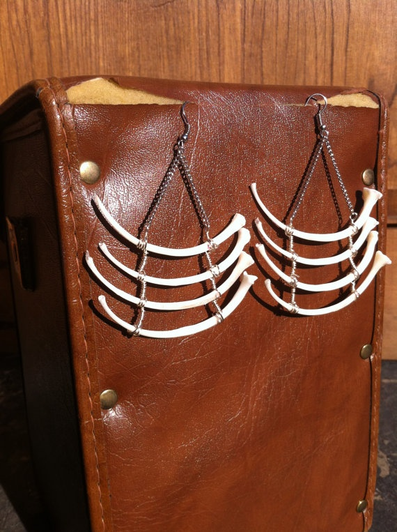 XL Real Snake Rib Earrings  Animal Bone Jewelry  by SavannaCrow, $45.00