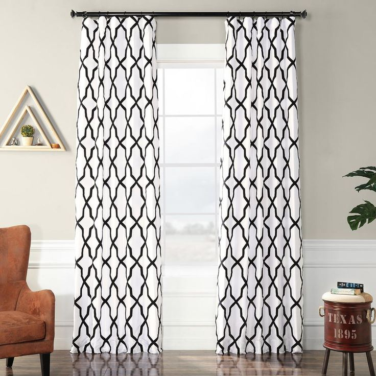 Exclusive Fabrics & Furnishings Pinnacle White and Black Flocked Faux Silk Curtain – 50 in. W x 96 in. L-PTFFLK-C35C-96