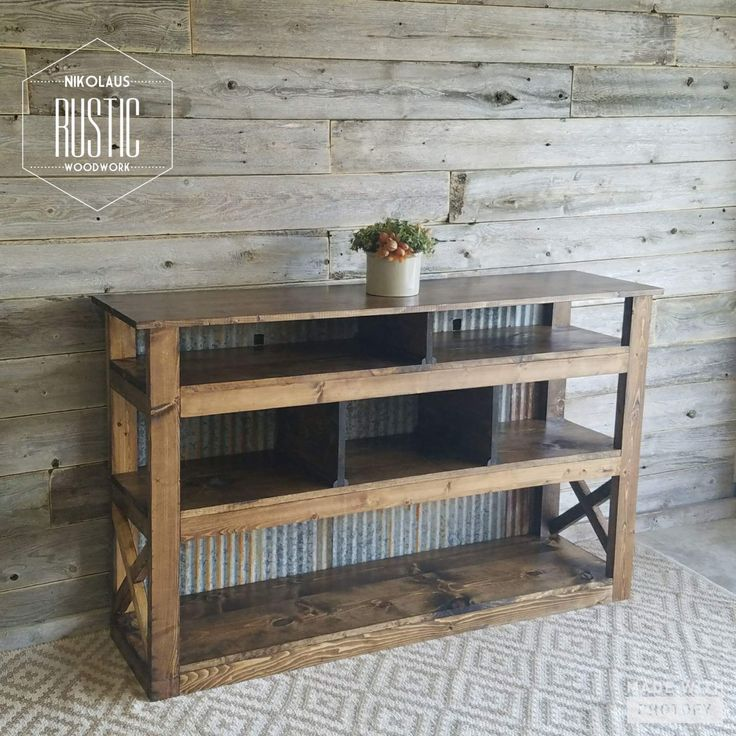 Rustic Console Table with x-details & steel backing