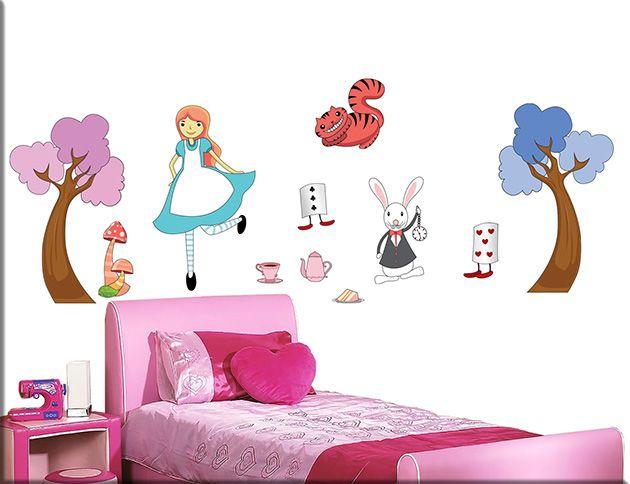 Adesivi murali alice meraviglie bimbi sono decorazioni adesive da parete perfette per arricchire la cameretta dei bambini con un design…