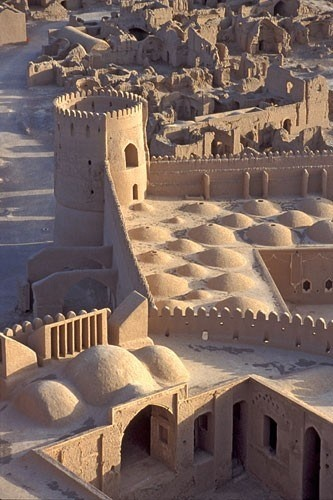 Arg-é Bam (Bam Citadel), Bam, Iran. The ancient citadel of Arg-e Bam has a history dating back around 2,000 years ago, to the Parthian Empire (248 BC–224 AD), but most buildings were built during the Safavid dynasty.