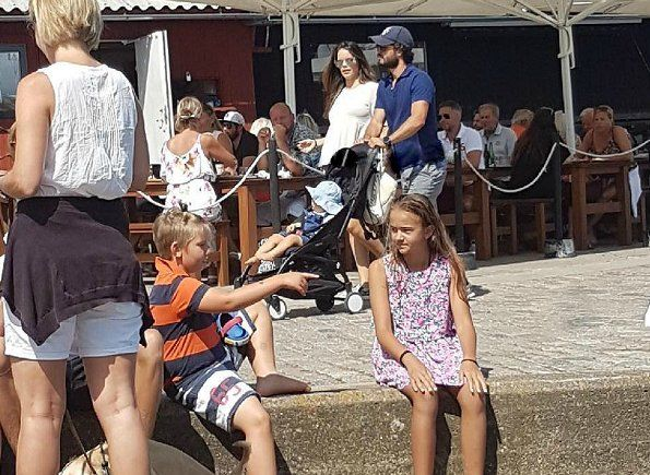 Prince Carl Philip, his wife Princess Sofia and their son Prince Alexander were seen in Bastad on August 1.