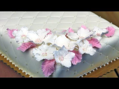 Orchideli - christenning or wedding cake with fondant hawaii flower and pearls. Cake for girl, baptism cake, first communion cake.