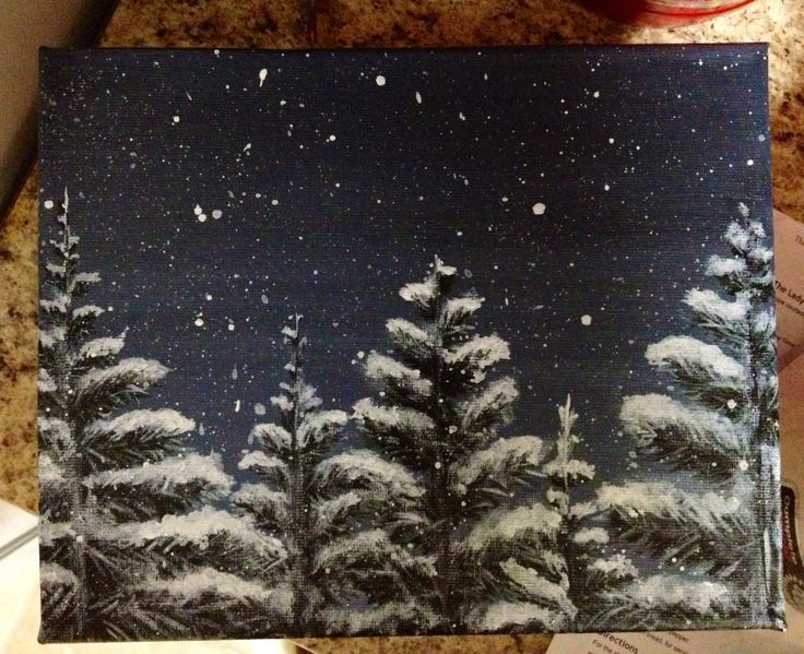 DIY Winter canvas painting