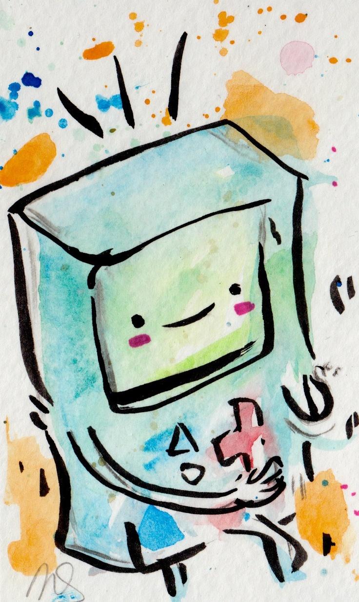 ORIGINAL PAINTING BMO Beemo / Adventure Time Fan Art. $10.00, via Etsy.