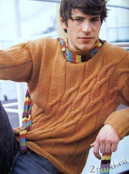 Мужской пуловер с узором из наклонных кос