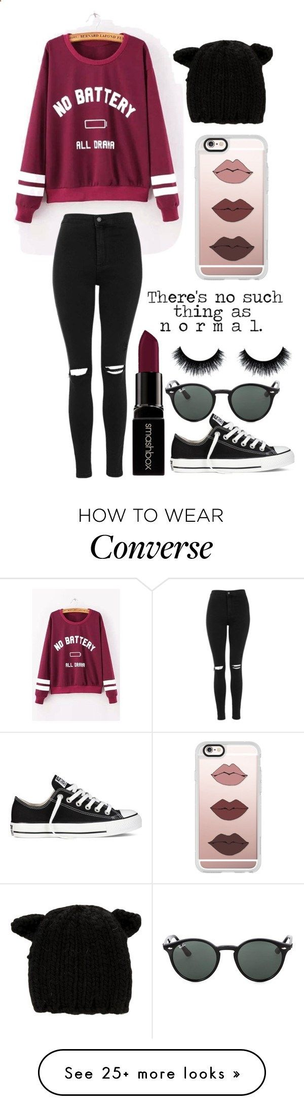 No Such Thing As Normal by emiliajf on Polyvore featuring Topshop, Smashbox, Casetify, Converse, Eugenia Kim and Ray-Ban