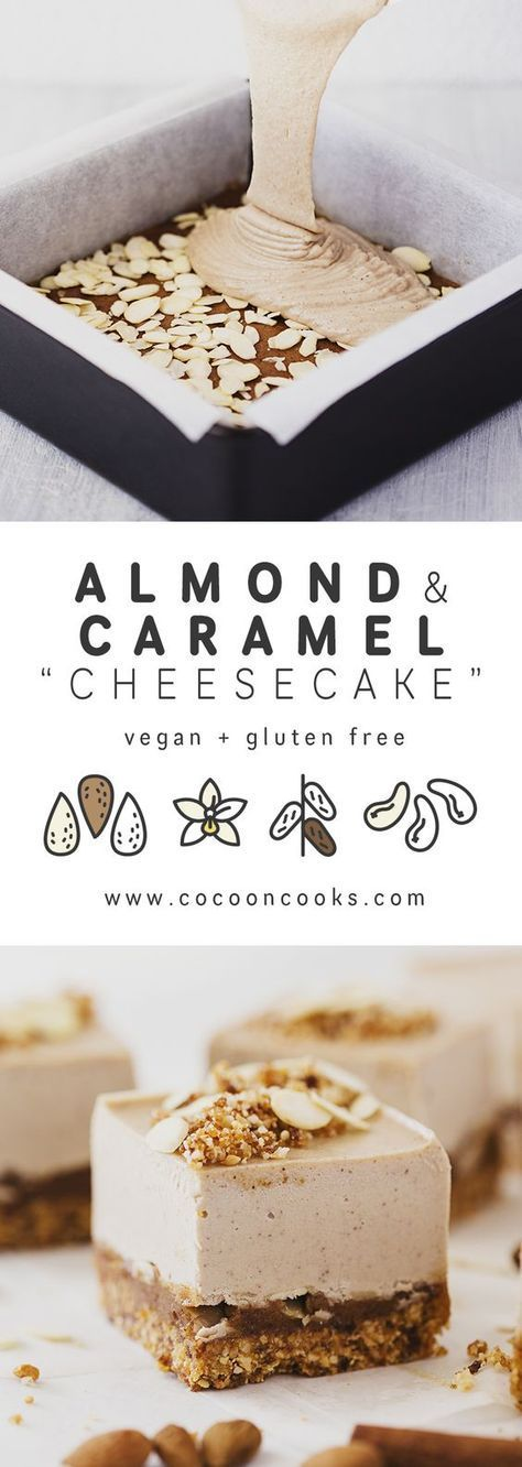 Roasted Almond & Salted Caramel Cheesecake -- gluten free and vegan!