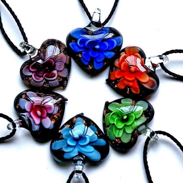 Interno Oro polvere di vetro murano cuore pendenti con collane gioielli di moda a buon mercato per la ragazza regalo 2017 hot fiori fatti a mano