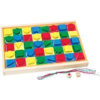 Colorama din lemn-Joc de construire cu forme si culori, jucarie cu siret.