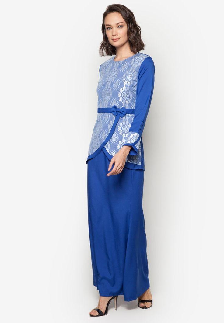 Baju Kurung Modern from Gene Martino in blue_2