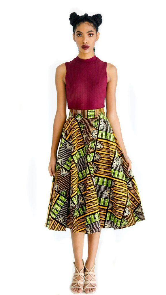 This African print skirt is just the right ladylike length for all of your style needs. The midi length hits mid-calf and the circle skirt style is perfect for all shapes and sizes. Give this bestsell