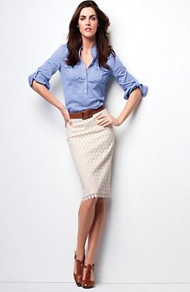 denim shirt makes it casual, and the pencil skirt makes it sophisticated (business during the day and party at night)