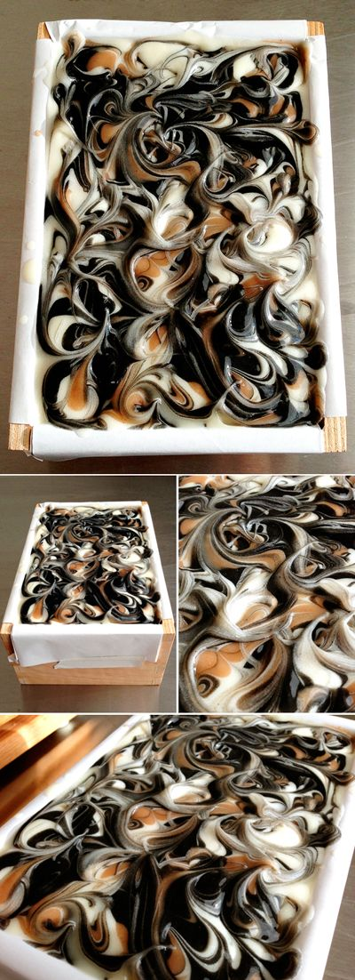 Freshly made soap still in the mold. Black Tea scented soap swirled with Bamboo Charcoal, Titanium Dioxide, and Rhassoul Clay.