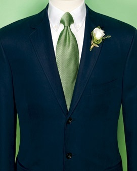 Handsome blue and green suit for the groom