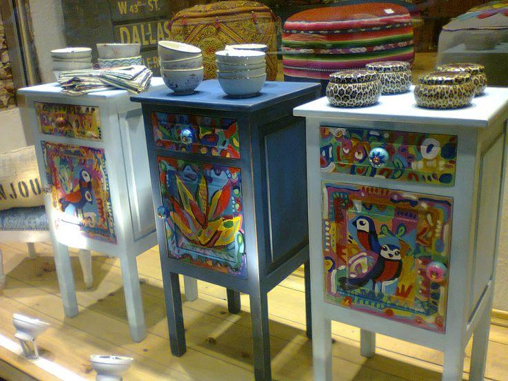 mesas de luz, restauradas