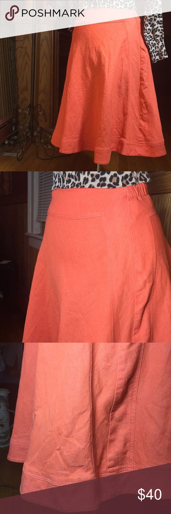 """A-line skirt Funky bright salmon orange size Small Great condition! No noted flaws, other than a slight stain on the inside of the hemline. It's not a visible stain when wearing it. Waist 12"""" laying flat, with an additional 2"""" give with elastic waistband :) This is on the Small side of a Small  This material has a linen feel to it. Fabric has a nice stretch too. 65% Cotton 33% Poly 2% Spandex REFER TO LAST PHOTO FOR ACCURACY OF COLOR Color is a bright salmon orange  Any questions just ask :)…"""
