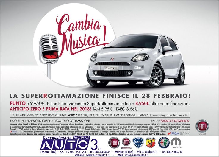 La #superrottamazione finisce il 28 febbraio, #fiat #punto tua a € 8.950 con #finanziamento e superrottamazione.  www.nuovaauto3.it