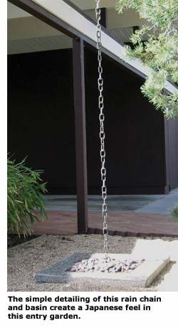 Rain chain for entry garden