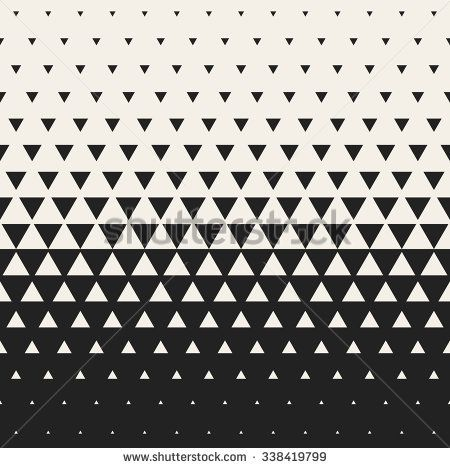 Vector Seamless Black and White Morphing Triangle Halftone Grid Gradient Pattern Geometric Abstract Background