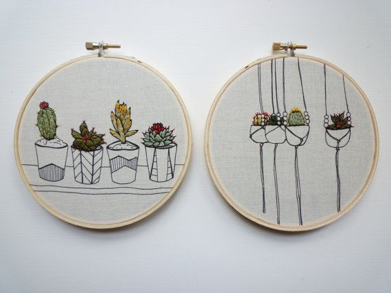 Embroidery Art 'Pots in a Row' 5 inch by CheeseBeforeBedtime