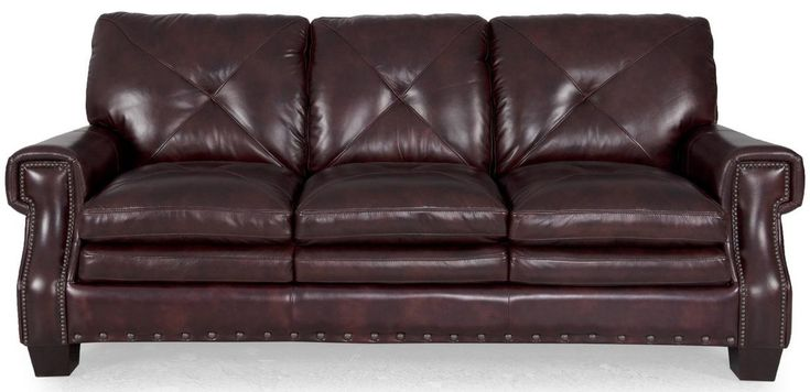 8260 Traditional Dark Leather Stationary Sofa With