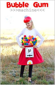 ubble Gum Machine This is one of those costumes that creative people come up with and the rest of us imitate.  I love this DIY bubble gum machine!  Sew a circle skirt using red felt and 1/4 inch pex pipe tubing for the shape on the bottom.  Styrofoam balls spray painted various colors make the gum balls and a styrofoam floral dome makes the hat.  Cute!