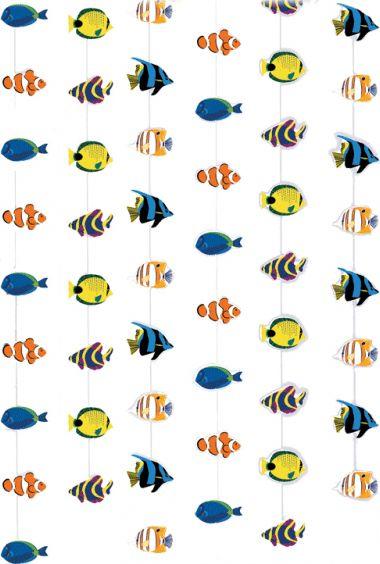 Tropisch deurgordijn met vissen. Het deurgordijn bestaat uit zes touwen met decoratieve visjes, waaronder: maanvisjes, clownsvisjes en een picasso doktersvisjes. Formaat: ongeveer 200 x 90 cm.
