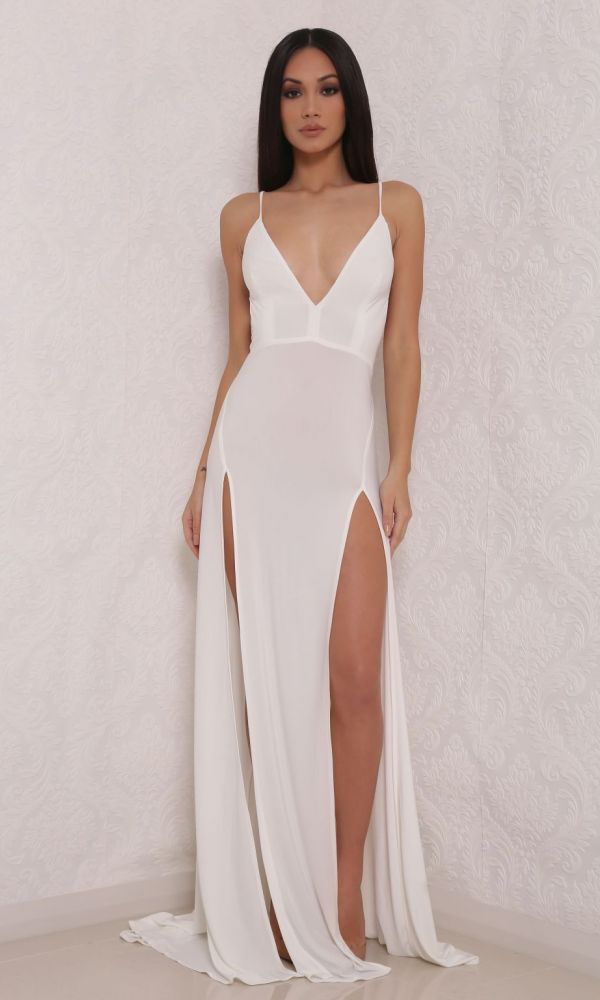 white high split gown-Abyss by Abby