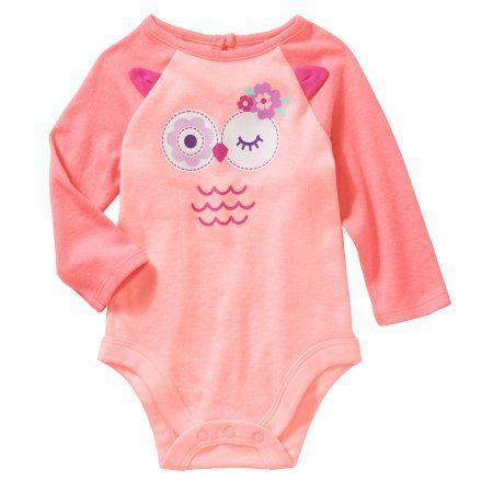 Garanimals Newborn Baby Girl Long-Sleeve Bodysuit With 3D Owl Ears, Size: 0 - 3 Months, Orange