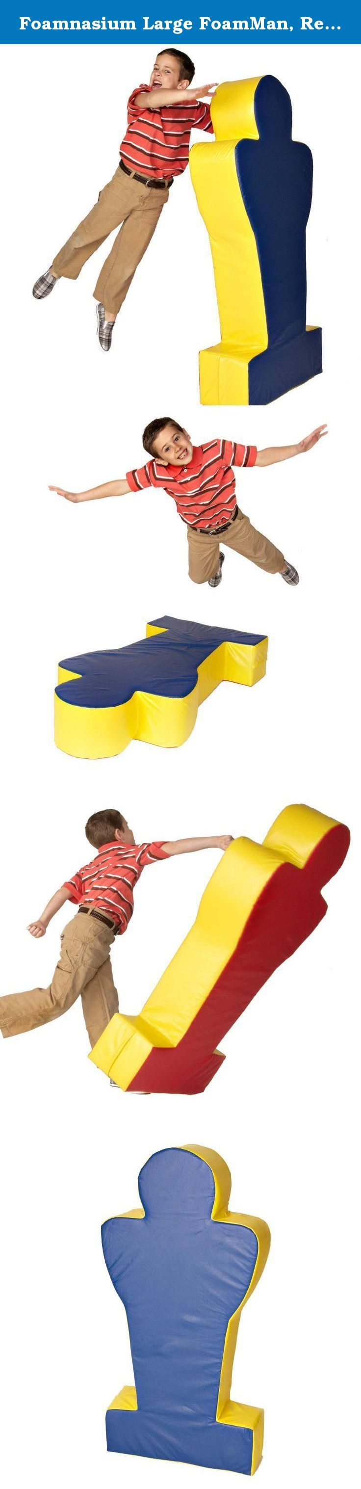 Foamnasium Large FoamMan, Red/Blue/Yellow. If your preschooler likes to horse around, get her a Foamnasium FoamMan! FoamMan is a tackling dummy, a boxing opponent, a wrestler to pin down—he's the best way to play rough without getting hurt. He's made of tough polyurethane foam that's durable enough to stand up to hours and hours of play. The flame-retardant foam also contains antimicrobial protection, so it won't grow mold or bacteria if it gets wet. The brightly-colored vinyl exterior is...