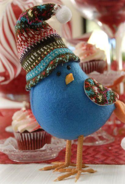 Blue Felt Bird Ornament