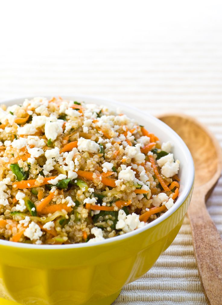 39 best salad recipes images on pinterest healthy meals bright quinoa with feta vegetables spinach carrots and zucchini are tossed with quinoa thats been simmered in chicken broththen topped by tasty feta forumfinder Images