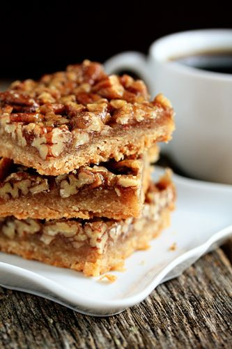 Pecan Bars With Unsalted Butter, Unbleached All-purpose Flour, Light Brown Sugar, Kosher Salt, Unsalted Butter, Light Brown Sugar, Salt, Light Corn Syrup, Unbleached All-purpose Flour, Chopped Pecans