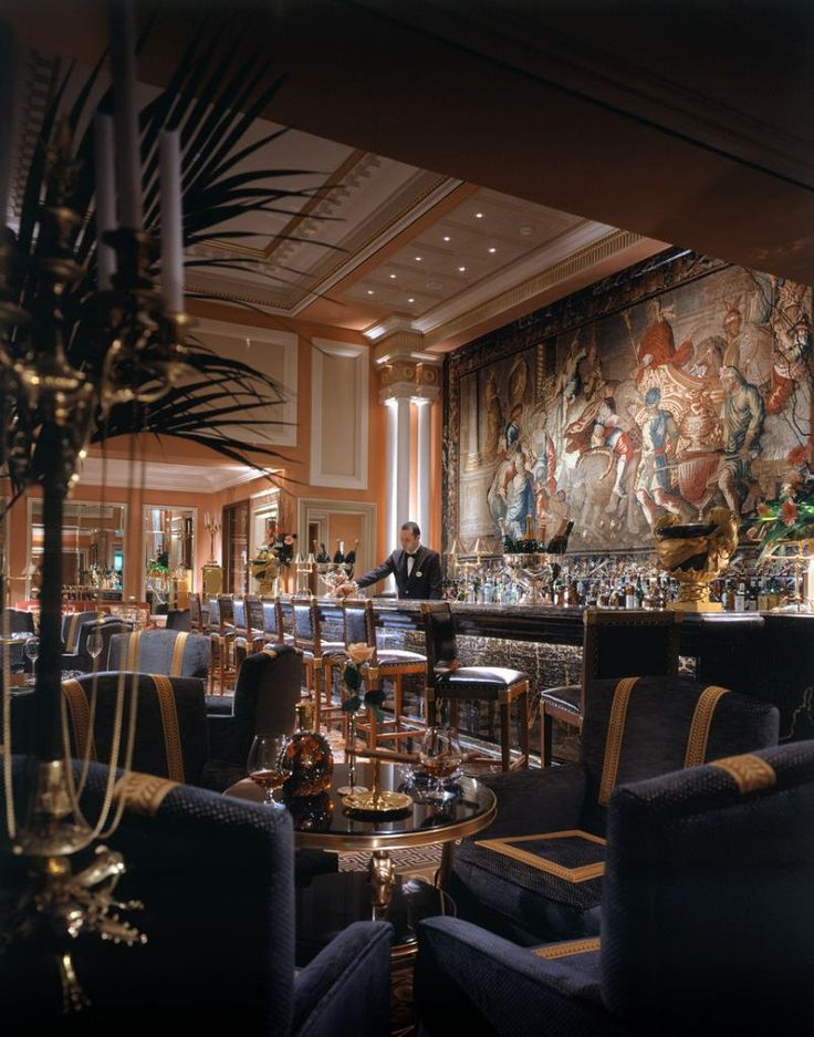 Mural at the bar of Hotel Grande Bretagne, interior designed by HBA/Hirsch Bedner Associates