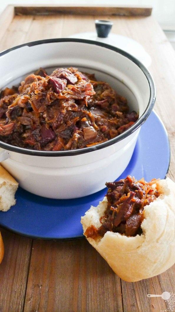 Yes again!!!  Bigos a sauerkraut, sausage and meat stew #Polish #fall #food #recipe