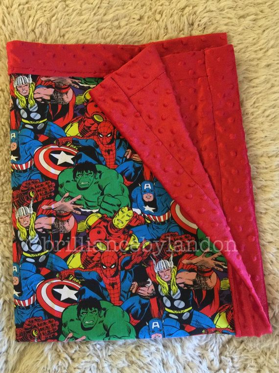 Marvel baby blanket superhero nursery custom by BrilliancebyLandon