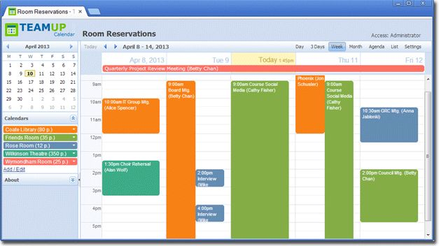 Teamup is a shared online calendar for groups and projects