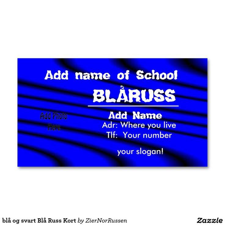 blå og svart Blå Russ Kort Double-Sided Standard Business Cards (Pack Of 100)