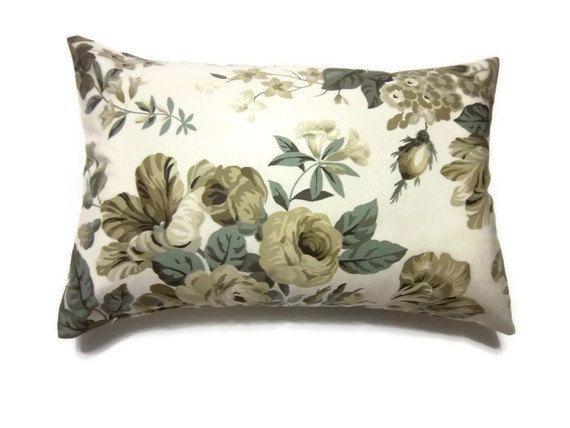 Sage Green Decorative Pillow : Decorative Pillow Covers One Olive Green Sage Green Cream Ecru Taupe Handmade Lumbar Floral ...