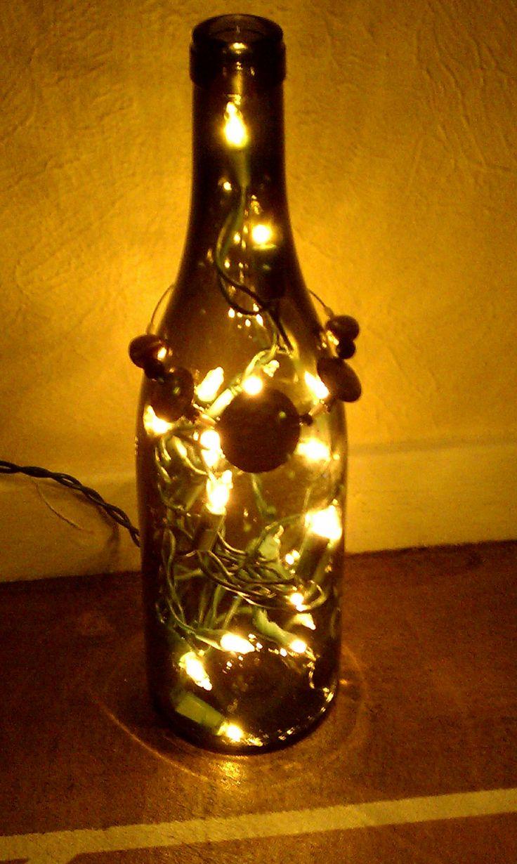 Wine bottle lamp craft ideas pinterest for Wine bottle light ideas