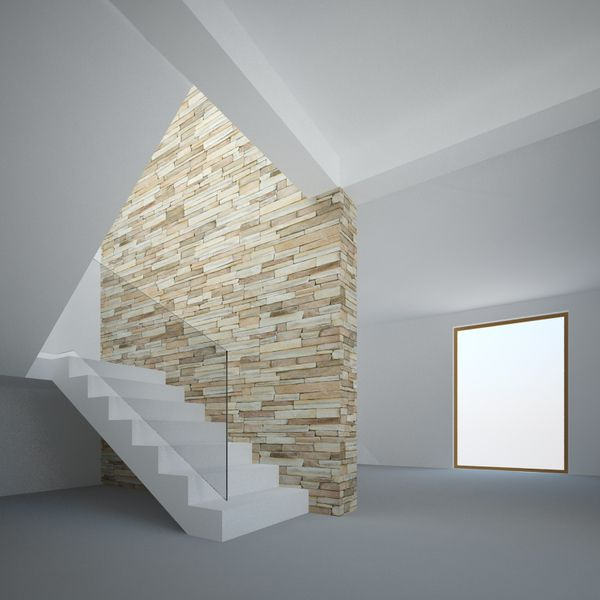 Rock Wall Design this view of the family room showcases the fabulous brick wall and wide fireplace The Rock Wall By Andrei Marin Via Behance