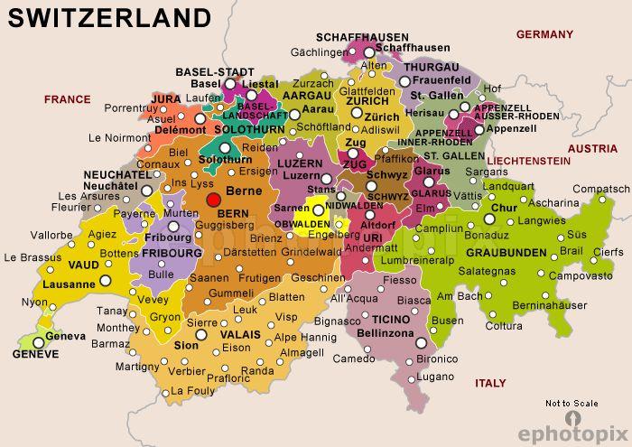 Map of Switzerland- Zurich then to Luzern, then to Berne then to Austria