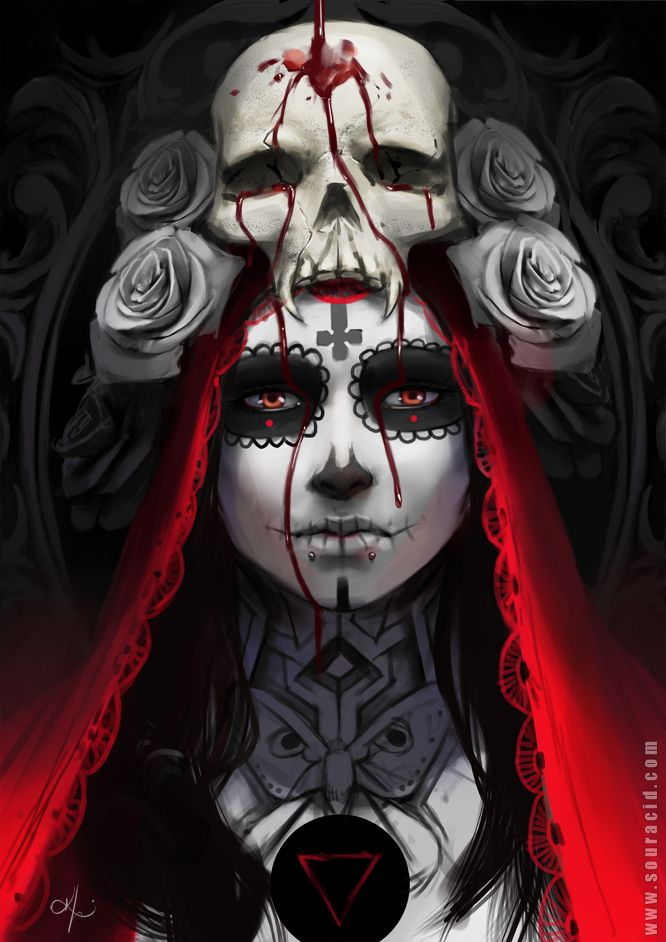 Dia de la muerte by SourAcid.deviantart.com on @DeviantArt - More at https://pinterest.com/supergirlsart #diadelamuerte #halloween #portrait